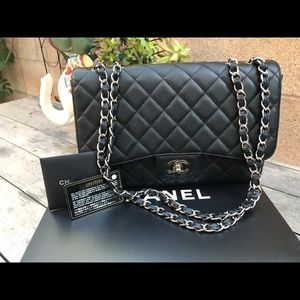 Chanel Quilted Caviar Leather Double Flap Bag